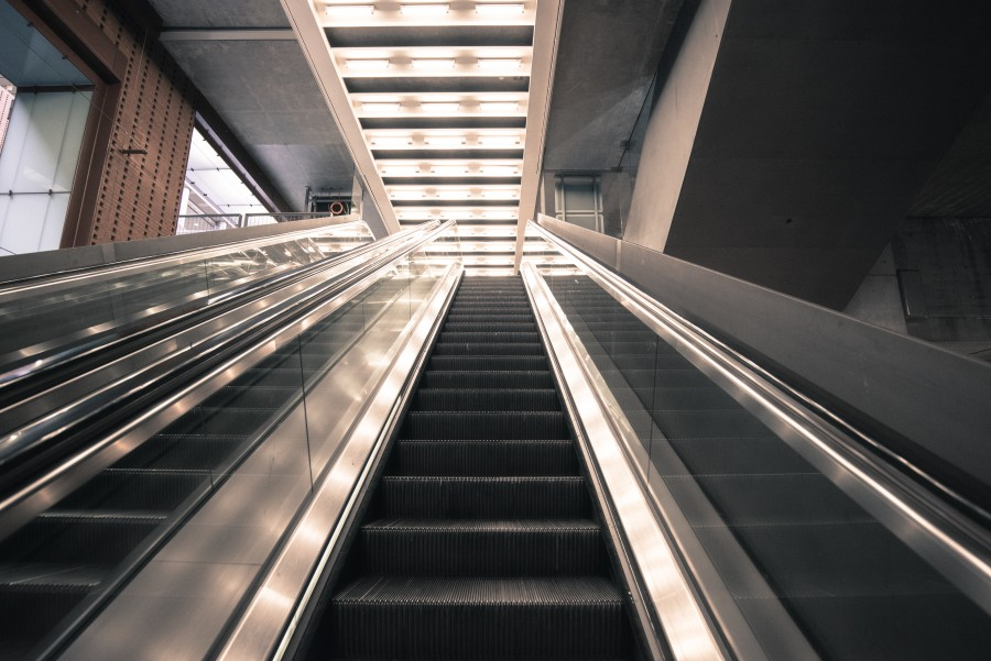 Escalators at a train station