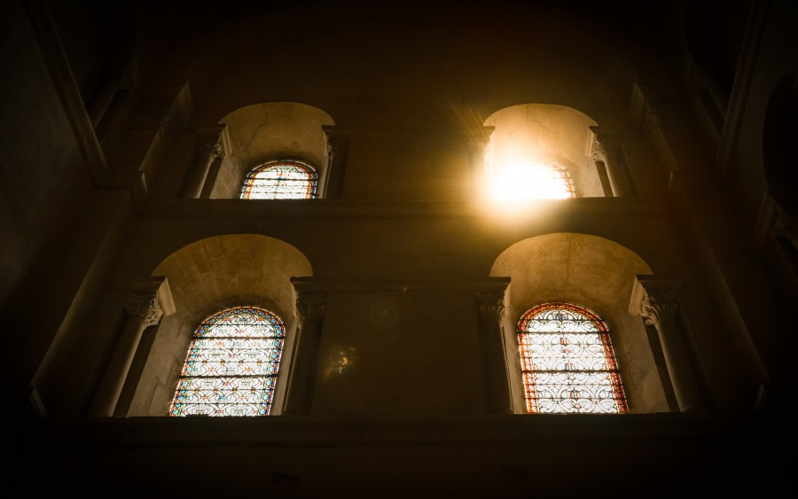 Sun peeking through church windows