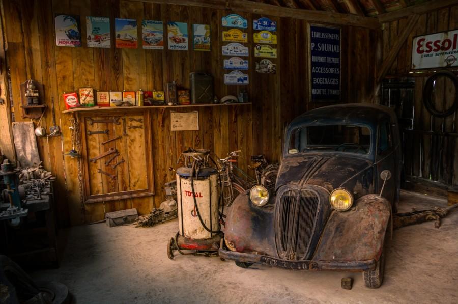Old car in repair shop\' on skitterphoto