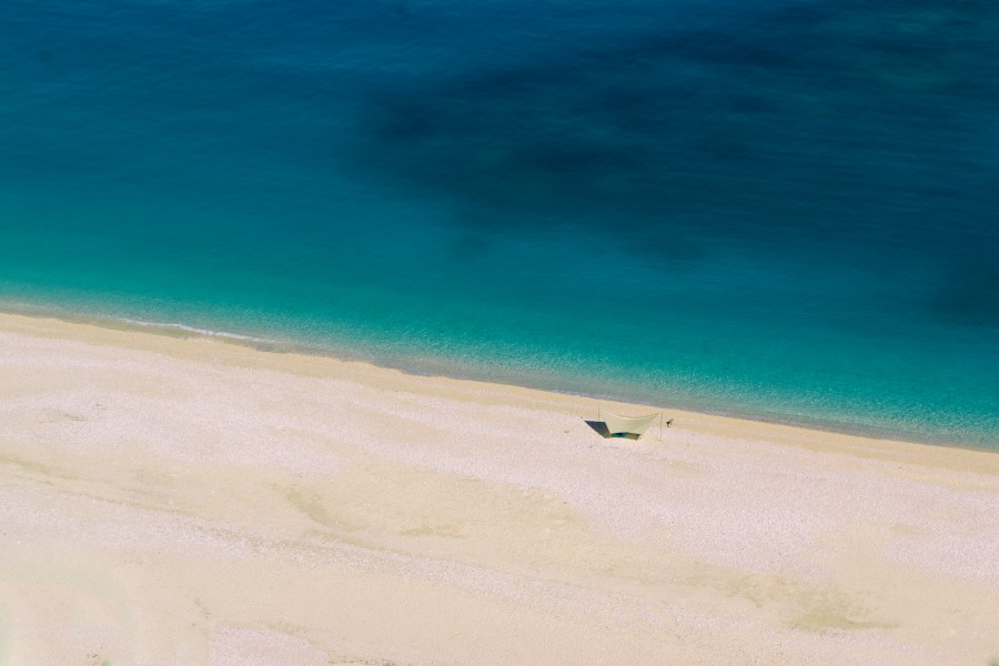 Aerial View of the Beach and sea in Myrtos Beach, Greek Island of Kefalonia