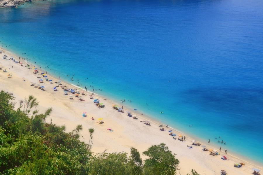 Myrtos Beach Aerial View in Greek Island of Kefalonia