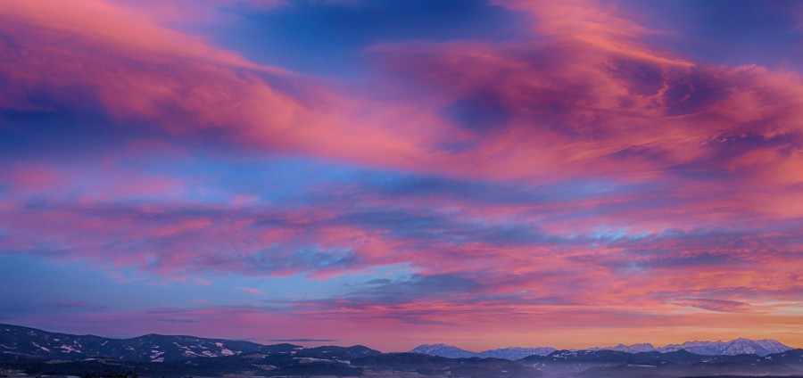 Winter Sunset over Mountains