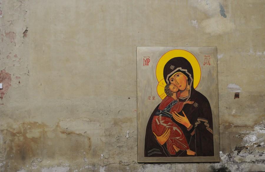 Maria and Jesus mural