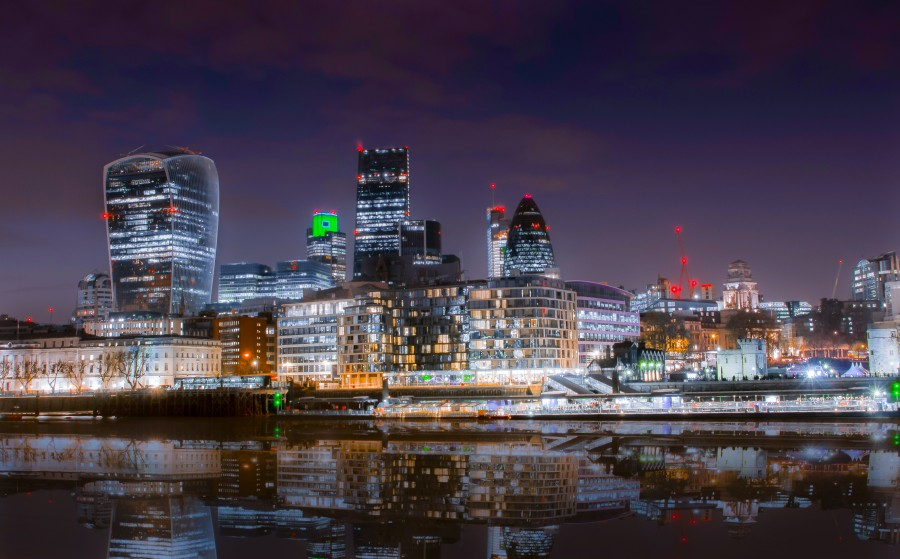 The London city at sunset