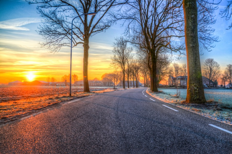 Road at cold sunset