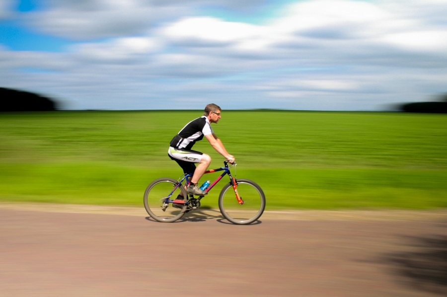 Cyclist on the move