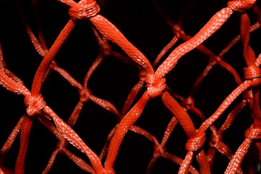 Basketball net close up