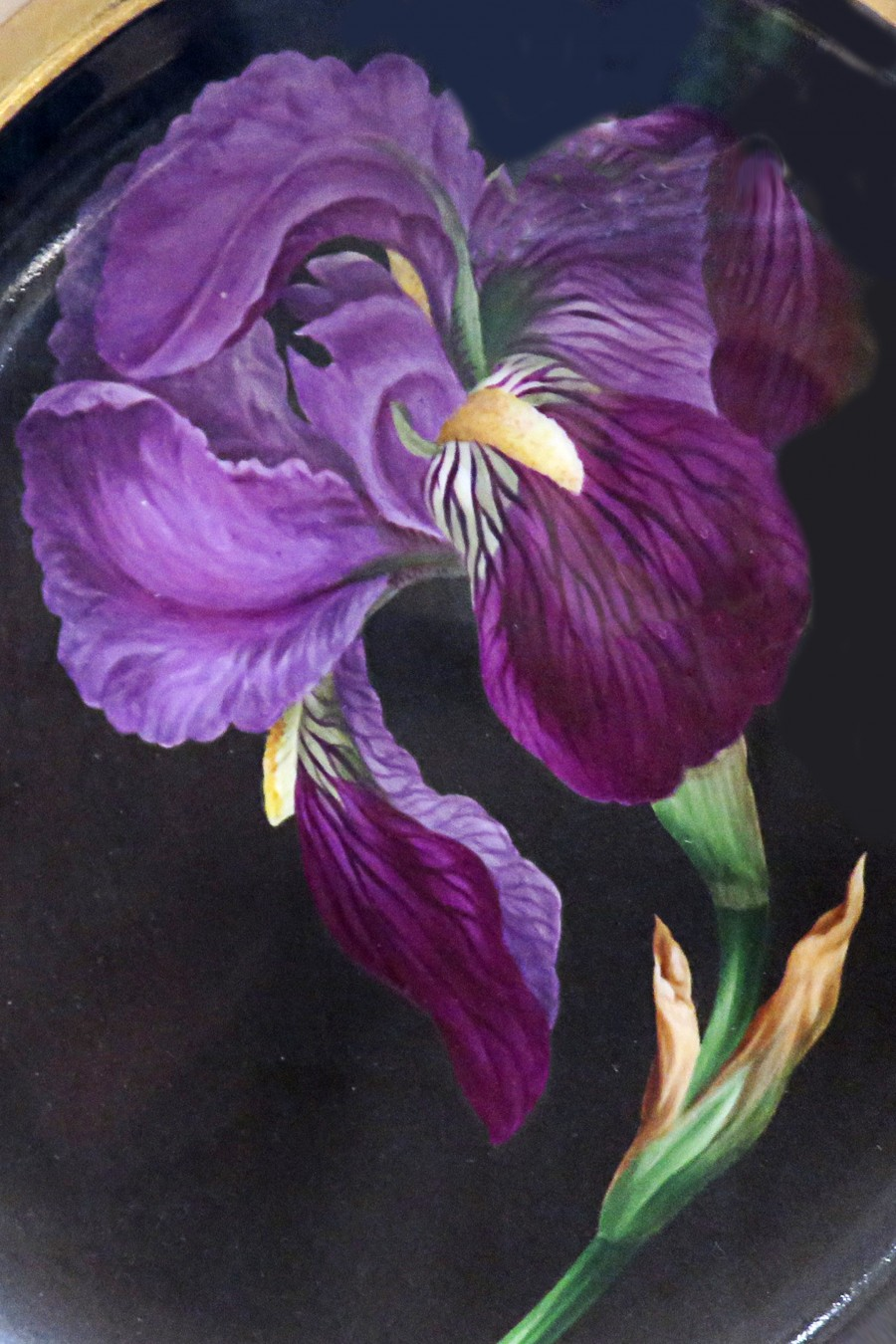painted iris on plate