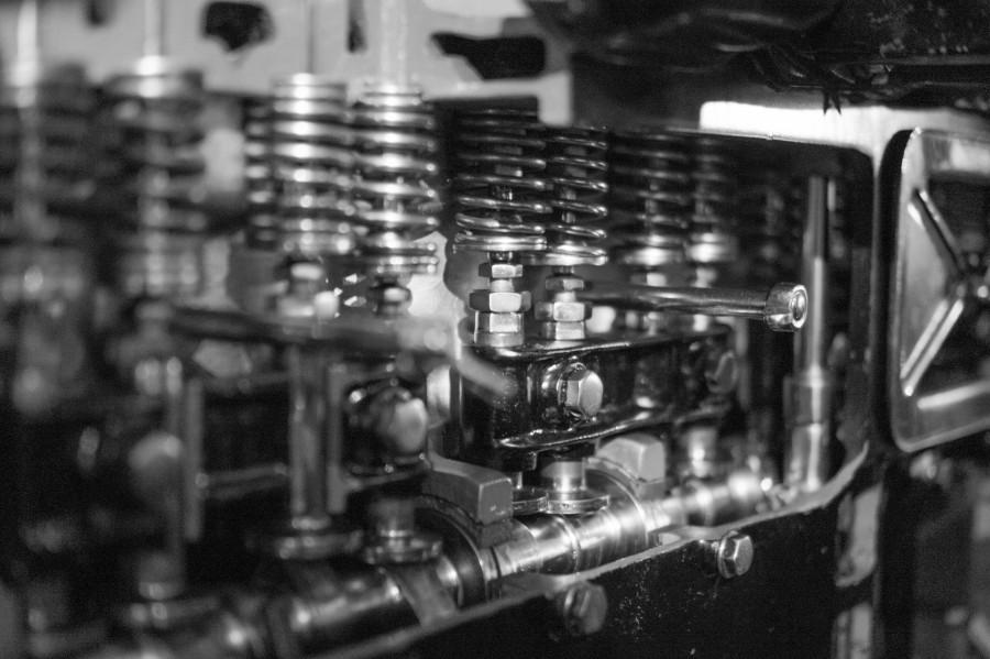 Car engine B&W