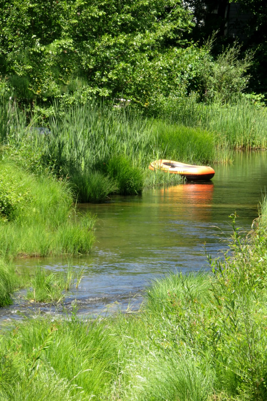 stream with rubber boat