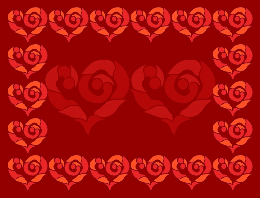 Red Valentines day greeting card.