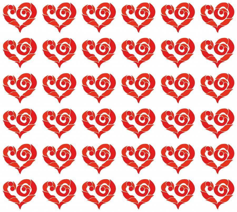 Seamless symmetrical background with red hearts.