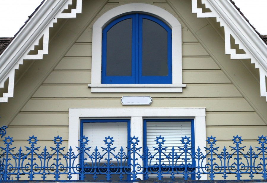 house with blue decorations